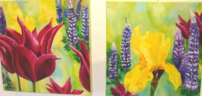 Tulpen, Ölmalerei, Frühling, Blumengarten, Iris, Lupinien