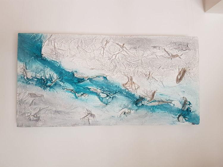 Fluss, Struktur, Abstrakt, Türkis, Malerei