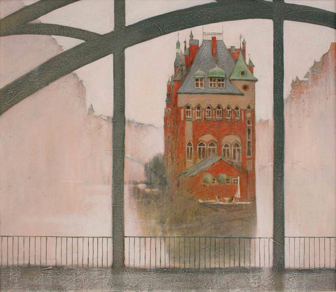 Hamburg, Menschen, Wasser, Brücke, Malerei, Morgen