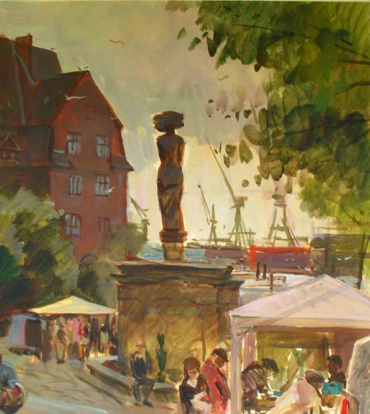 Straße, Fischmarkt, Hamburg, Grafik