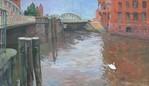 Wasser, Brücke, Hamburg, Malerei
