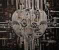 Cyber, Surreal, Acrylmalerei, Kopf