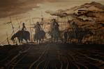 Acrylmalerei, Frau, Pferde, Reiter