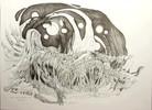 Tusche, Surreal, Albtraum, Zeichnungen