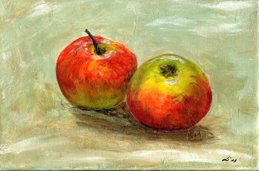 Apfel, Stillleben, Acrylmalerei, Malerei,