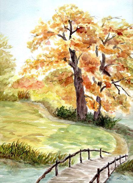Wörlitz, Park, Baum, Herbst, Brücke, Malerei