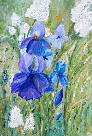 Iris, Ölmalerei, Blüte, Natur, Blau, Blumen