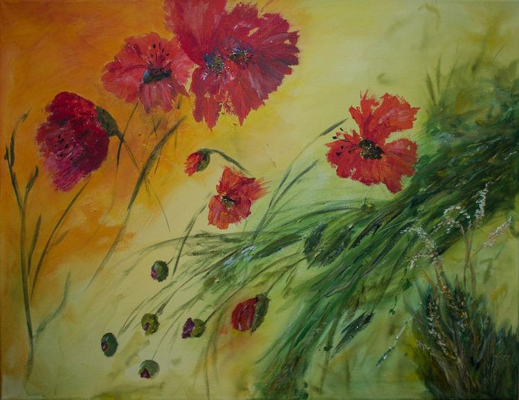 Acrylmalerei, Mohnblumen, Rot, Grün, Strukturpaste, Malerei