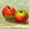 Apfel, Stillleben, Acrylmalerei, Malerei