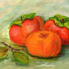 Kaki, Orange, Malerei,