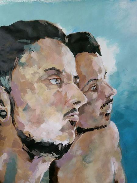 Portrait, Mann, Acrylmalerei, Malerei, Mer