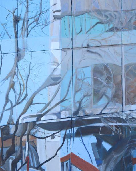 Natur, Spiegelung, Ölmalerei, Architektur, Malerei