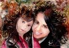 Lächeln, Blätter, Schwestern, Herbst
