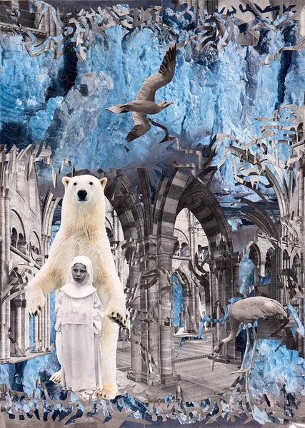 Surreal, Eisbär, Scherenschnitt, Burg, Collage, Sinuskurve