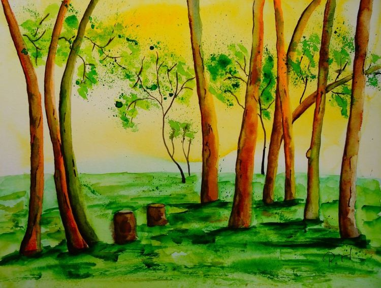 Blätter, Aquarell landschaft, Baum, Malen, Frühling, Äste