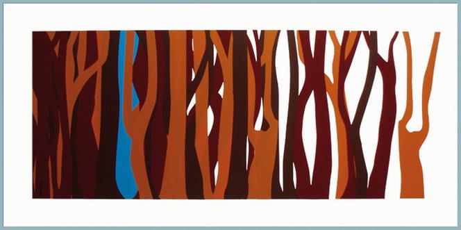 Stamm, Baum, Licht, Schatten, Malerei, Surreal