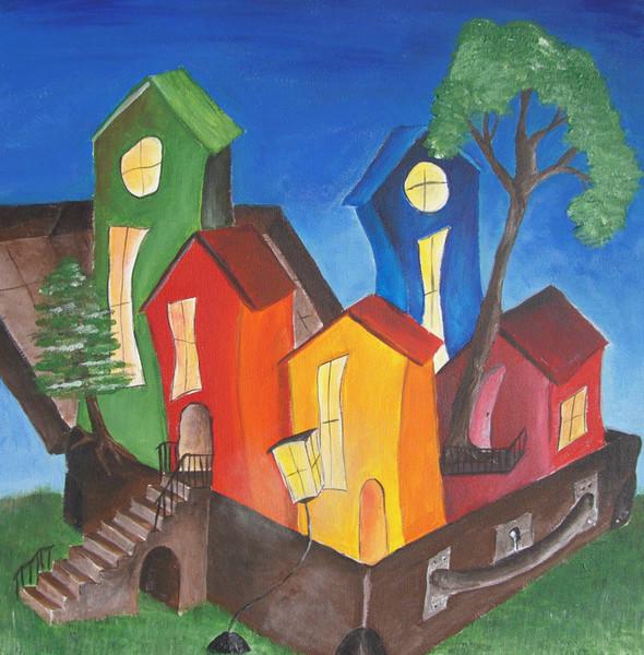 Acrylmalerei, Ausdruckstarke, Farben, Häuser, Naiv, Malerei