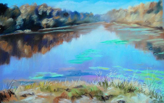 Inn, Pastellmalerei, Altwasser, Wasser, Malerei