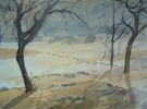 Winter, Obstbaum, Aquarellmalerei, Aquarell