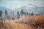 Aquarellmalerei, Baum, Berge, Pangerfilze