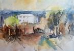 Aquarellmalerei, Haus, Landschaft, Berge