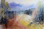 Aquarellmalerei, Berge, Landschaft, Aquarell
