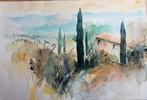 Landschaft, Aquarellmalerei, Toskana, Aquarell