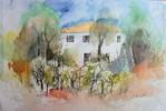 Toskana, Aquarellmalerei, Haus, Landschaft