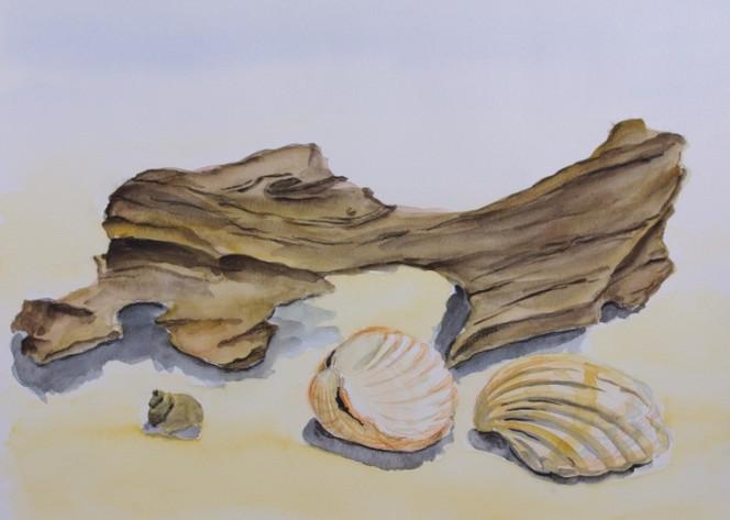 Malerei, Stillleben, Strandgut