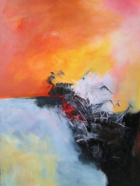 Acrylmalerei, Rot, Weiß, Aufgekratzt, Gelb, Malerei