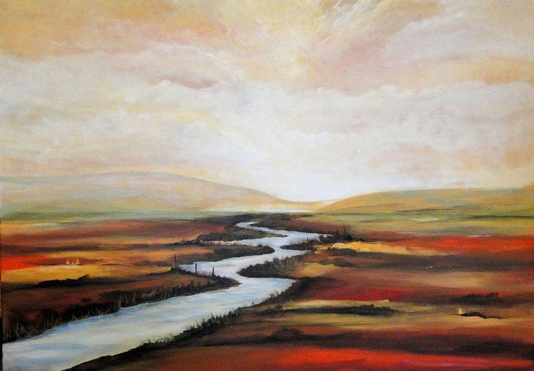 Abstrakte landschaft, Pigmente, Malerei