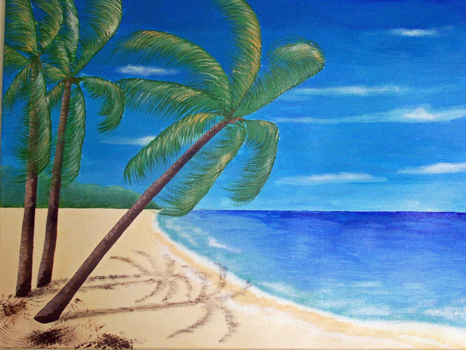 Urlaub, Palmen, Meer, Sand, Strand, Malerei