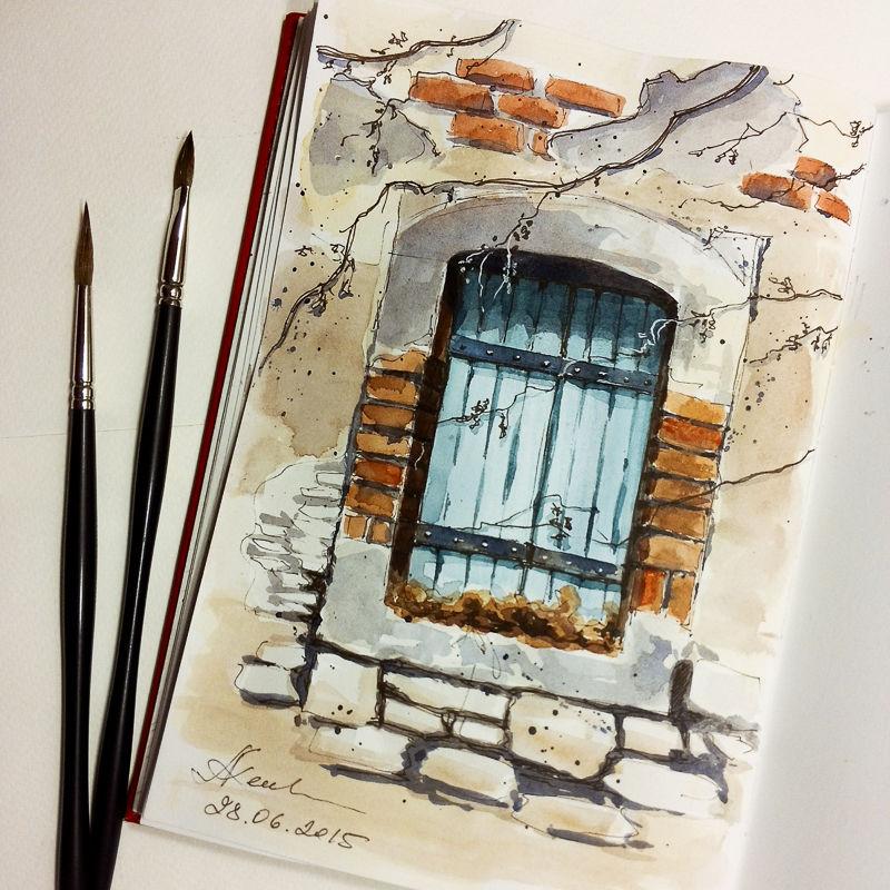 Bild architektur skizzenbuch skizze aquarellmalerei - Architektur skizze ...