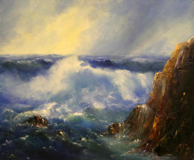 Welle, Felsen, Wasser, Sturm, Malerei