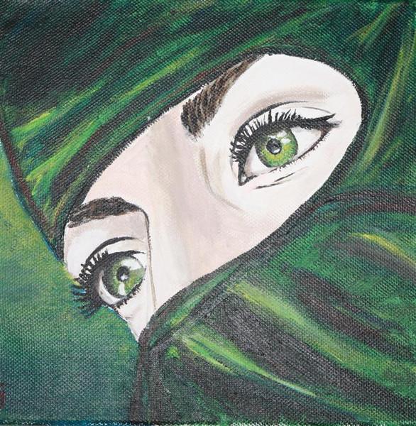 Augen, Burka, Islam, Malerei, Pflanzen, Blick