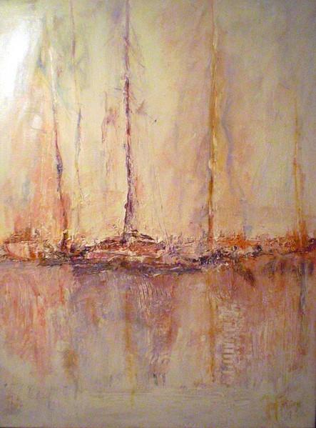 Gegenlicht, Hafen, Segelschiff, Malerei, Abstrakt