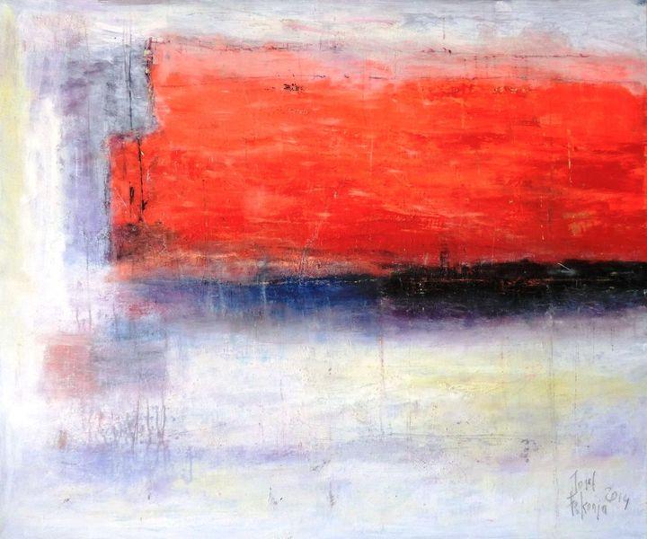 Mischtechnik, Orange, Rot, Blau, Verschneidung, Abstrakt
