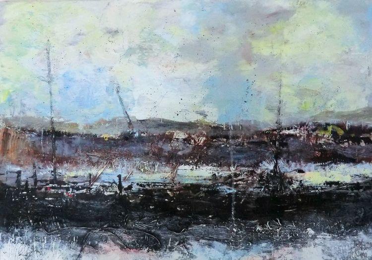Malerei, Ozean, Moderne malerei, Submarine, Spiegelung, Aufgewühlt