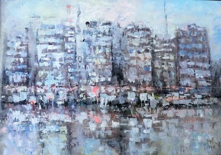 Moderne malerei, Skyline, Seaside, Submarine, Abstrakte landschaft, Malerei