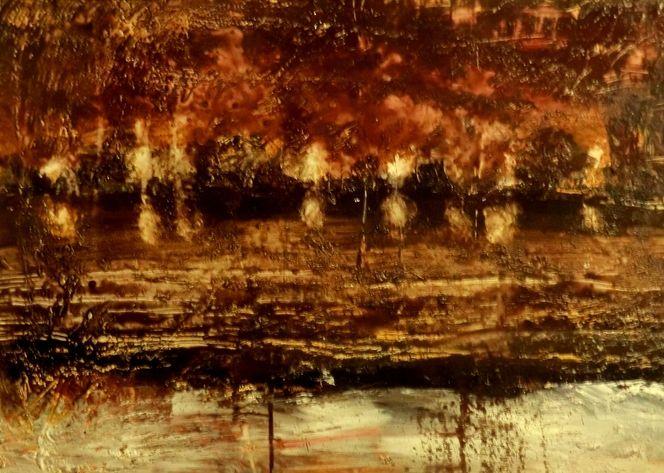 Abstrakt, Erdfarben, Licht, Wasser, Modern, Abstrakte landschaft