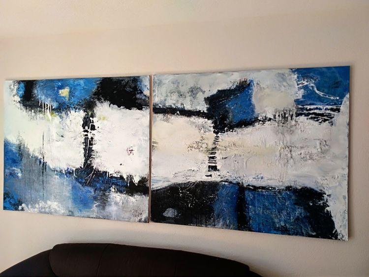 Abstrakte landschaft, Nicht gegenständlich, Moderne malerei, Blau, Himmel, Schwarz weiß