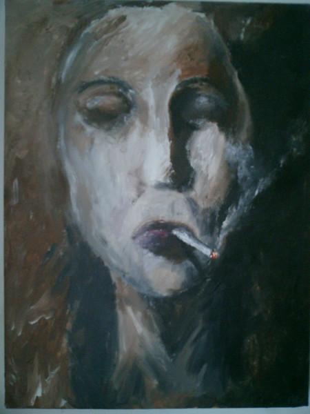 Angst, Schmerz, Stille, Zigarette, Gesicht, Acrylmalerei