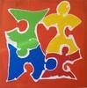 Herz, Familie, Menschen, Puzzle
