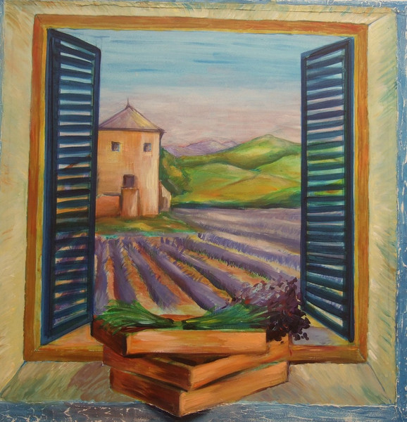 Urlaub, Lavendel, Fenster, Provence, Sommer, Malerei