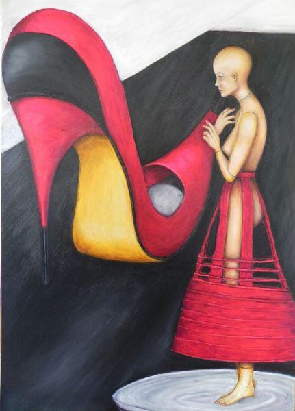 Rot, Jahrhundert, Schuhe, Kreislauf, Modepuppe, Präsentiertellr
