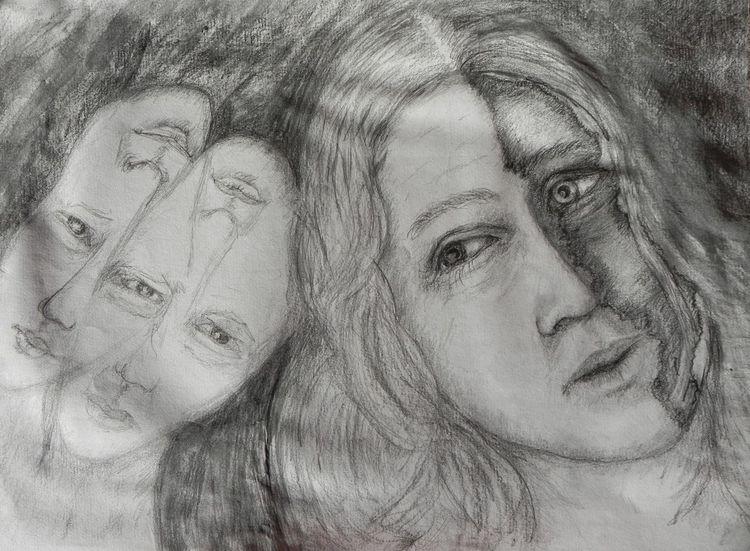 Viergesicht, Tag, Frau, Nacht, Nachtgespenster, Zeichnung