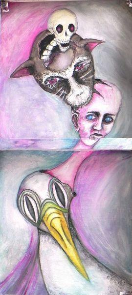 Angst, Auftauchen, Rückseite, Kopfgeburten, Malerei