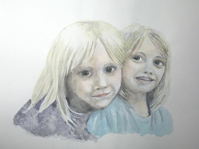 Vogel, Geschwister, Aquarellmalerei, Junge, Portrait, Kinder