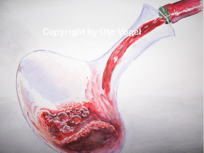 Bewegung, Rotwein, Aquarellmalerei, Eingießen, Dekantieren, Glas