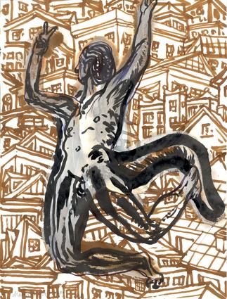 Stadt, Architektur, Figur, Zeichnungen, Teufel